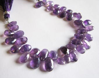 Mystic Purple Amethyst faceted pear broilettes, 7 inch strand, 8.5-12mm (w118)