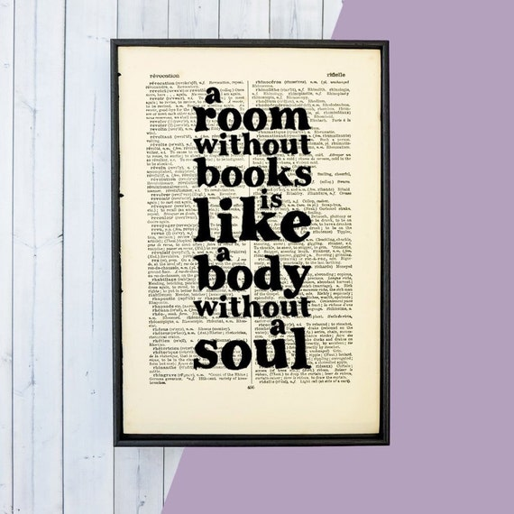 A Room Without Books - Framed Art - Book Lover Gifts - Literary Quote - Book Lover Quote - Book Page Art - Cicero