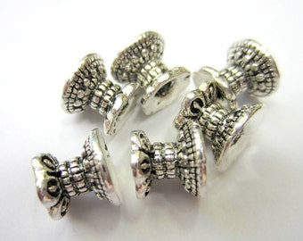 20 Double bead caps antique silver spacer beads jewelry making bead caps 9.5mm x 8mm jewelry making supplies HP648 (T2)