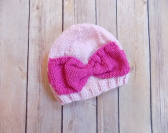 Knit Hat with Bow, Pink Knit Beanie, Baby Girl Bow Hat