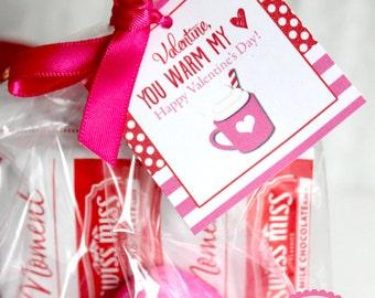 Hot Chocolate Valentine, Valentine Tags, Warm my Heart, Printable Valentine, Classroom Valentine, Valentine Tags, NonCandy Valentine