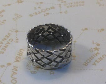 Sterling Silver BASKET WEAVE Ring / Silver LATTICE Ring/ Criss Cross Silver Ring / WEave Ring SIze 6