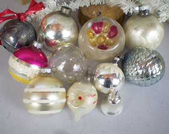 Vintage Silver Glass Christmas Tree Ornaments Collection