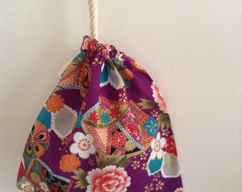 BEST SELLER- Extra Small Purple Oriental Cotton Bag, jewellery Bag, Drawstring Bag, Coin pouch, Rosary Pouch, Makeup Bag, Australian Made