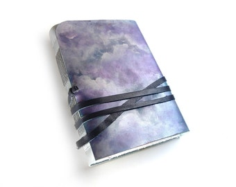 blue sky leather journal, writing diary, leather notebook, personalized leather cover journal, unlined vintage paper, Silver Lining