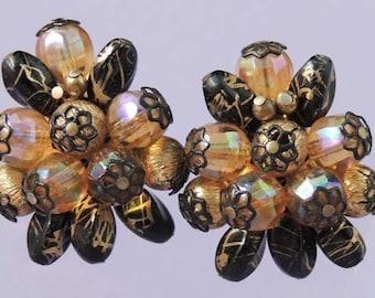 Vintage HOBE Bead Earrings / Hobe Earrings / Hobe Black and A/B Crystal Bead Earrings / Hobe Jewelry / Designer Signed Earrings
