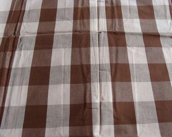"Vintage Big Brown Check Cotton Fabric ~ 35""w x 24"" plus legs"
