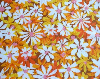 Vintage Fabric - Yellow Pink Orange Mod Daisy - 42 x 48