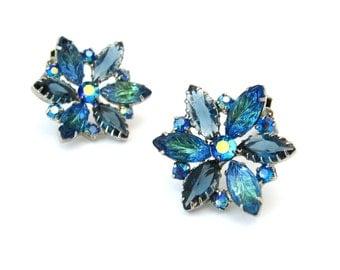1960s Molded Art Glass Flower Earrings   Huge Sapphire Blue Rhinestone Clip On   Vintage 60s Jewelry