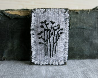 Textile Art Embroidered Brooch - Black Tree Design on Light Gray Linen