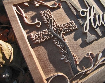 Personalized Family Last Name Signs Christian wedding gift Custom Cross sign Family Tree 3D Wood work Established Religious Couples present