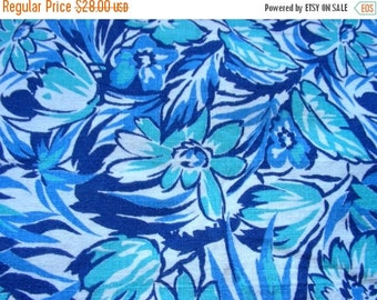 SALE:) Vintage Feedsack  Flour Sack Cotton Fabric -  - Turquoise and Navy Blue Flowers  - 36 x 38 inches