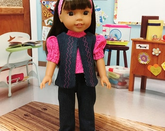 "SALE Wellie Wisher "" School Days"" Jeans, blouse, and vest fits WW by American Girl 14 inch doll"