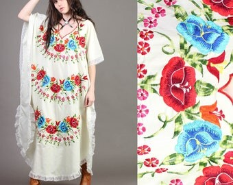 vintage RAINBOW + EMBROIDERED floral CAFTAN scalloped lace mexican hippie boho dress 70s 1970s one size os