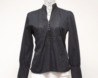 Vintage Women's Blouse Shirt - Black embroidered Kenar Tunic Top size medium