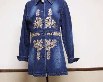 Vintage Women's Jacket - Embroidered Long Denim Jean Jacket by Brandon Thomas