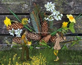 love, still life collage, winter foliage, fallen leaves, newlyweds, housewarming gift, cabin wall art, rustic wedding, nature landscape