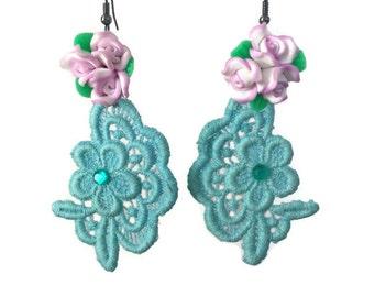 ON SALE Womens Romantic Aqua Blue Lace Embellished Dangle Statement Earrings with Purple Flowers on Dark Silver Earring Hooks