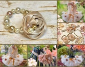 Glass Pearl Beaded Bracelet Fabric flower Cream Gold Taupe baby girl Jewelry beige Ivory Newborn Photo Prop Beauty Pageant Flower Girl