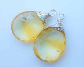BIG Citrine Gemstone Sterling Silver Wirewrapped Faceted Briolettes Matched Pair