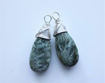 Seraphinite Gemstone Sterling Silver Wirewrapped Charm Briolettes Qty 2 Matched Pair