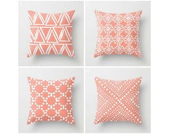 Peach Throw Pillow . Modern Throw Pillow . Modern Cushion . Peach Cushion . Geometric Pillow . White Cotton Throw Pillow 14 16 18 20 inch