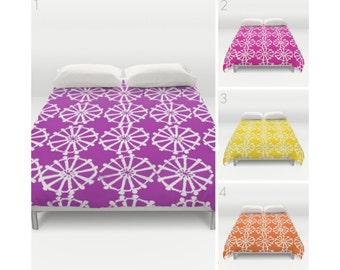 Purple Duvet Cover - Magenta duvet cover - Yellow duvet cover - queen duvet cover - king duvet cover - full duvet cover - Pink Twin XL Duvet