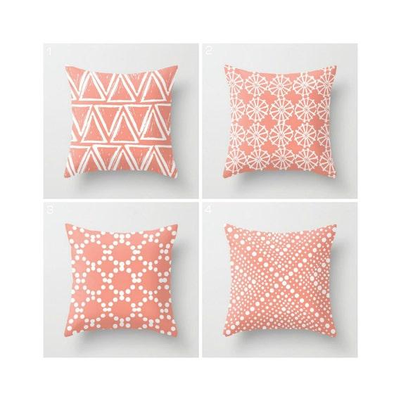 Peach Throw Pillow - Modern Throw Pillow - Modern Cushion - Peach Cushion - Geometric Pillow - White Throw Pillow 16 18 20 24 inch