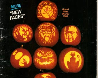 Carve-O-Lantern Halloween Pumpkin Carving Patterns Spider Web Imp Frankenstein Ghost Book Witch Craft Pattern Leaflet Special Collection 1