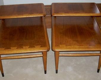 Mid Century Modern Lane Furniture Wood Shelf End Tables