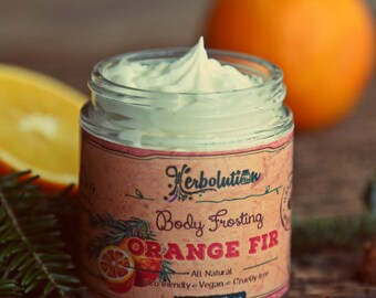 Orange Fir Vegan Body Frosting - All Natural with Shea butter. Uplifting and cheerful