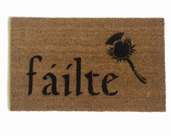Scottish Fáilte and thistle or Irish Harp outdoor doormat eco friendly st patricks day door mat