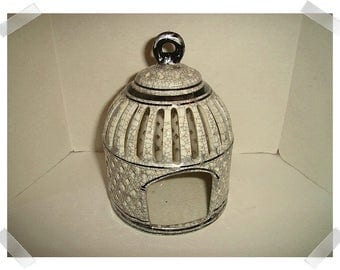 Ceramic Bird Cage White/Black Crackling with Silver Touches/ Recycled/ Home Decor/ Supplies*