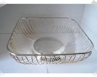 Silver Plated Square Wire Basket/ Home Decor/ Supplies*