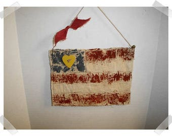 USA Flag Ornament/ Tea Dyed Muslin Fabric/Handmade/ Patriotic Decor/ Made To Order**