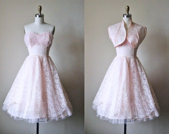 1950s Dress - Vintage 50s Dress - Pink Chantilly Lace Tulle Bust Shelf Prom Party Dress w Bolero XS - Pixie Stix Dress