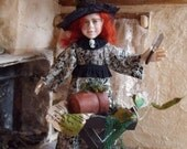 1/12th scale Witch Dolls House Miniature Little Girl Mandrake One of a Kind OOAK Polymer clay Doll