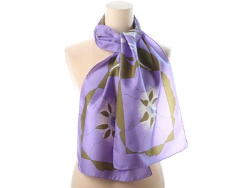 Vintage ABSTRACT Print Scarf 80s Light Purple Long Neck Shawl Neckerchief Retro Feminine Urban Casual Womens Gift