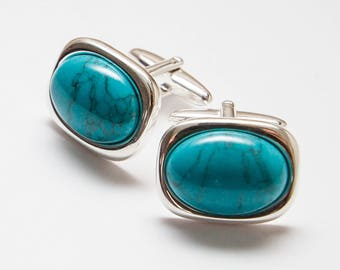 Magnesite Cufflinks. Rectangular Gemstone cufflinks. Blue Magnesite Cufflinks. Hand Crafted. Gifts For Men. Groom Cufflinks. Wedding.