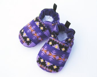Classic Vegan Purple Aztec / All Fabric Soft Sole Baby Shoes / Made to Order / Babies