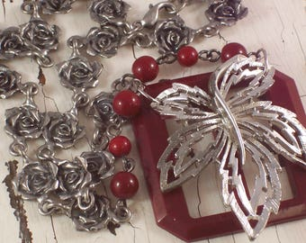 Burgundy Red Buckle Silver Leaf Rose repurposed assemblage necklace by ceeceedesigns on etsy