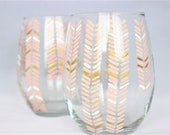 Chevron design in peach, white and gold - hand painted stemless wine glasses
