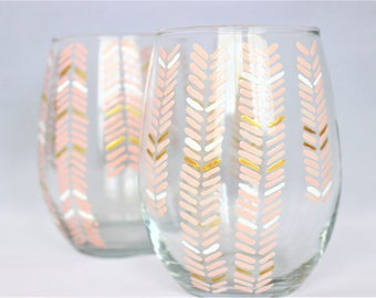 Chevron design in peach, white and gold - hand painted stemless wine glasses - set of 2 Ready to Ship