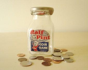 Vintage half pint coin bank, 1950s glass bottle still bank, cute graphics, Bowen of Goshen IN, child's first savings bank, stocking stuffer