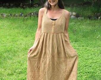PERSEPHONE - 1990s Rayon Sundress Earth Tones Brown Tan Made in India Her Style Goddess Empress Bohemian Boho Hippie Mama OSFA OSFM L