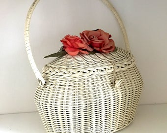 Wicker Purse Vintage Shabby White with Roses Basket Purse Perfect for Easter