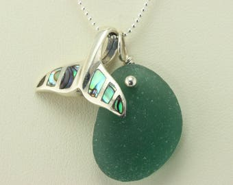 Abalone Whale Tail Sterling Silver Pendant with Extremely Rare Teal Genuine Sea Glass Necklace