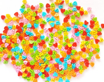 200 pcs Tiny Love Heart Buttons 4 mm Mix Hot Colors Pink Red Blue Yellow Orange