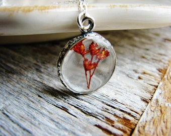 Tiny Flower Necklace, Open Pendant Necklace, Red Flower Necklace, Real Flower Necklace, Floral Necklace, Silver Necklace