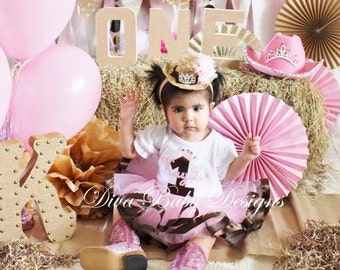 Cowgirl 1st 2nd 3rd 4th Birthday Outfit Pink and brown Baby girls first birthday outfit Personalized with Ribbon trimmed Tutu